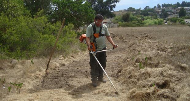 Guardaparques construyeron cortafuegos de 3 metros de ancho en el perímetro de la administración del Santuario de la Naturaleza Laguna El Peral.