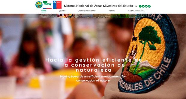 El sitio web www.parquesnacionales.cl que reúne toda la información del Sistema Nacional de Áreas Silvestres Protegidas del Estado.