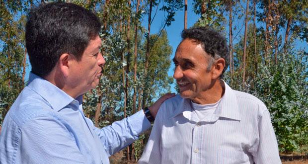 Uno de los predios visitados fue el de José Lagos, en el sector de Potrerillos en la comuna de Litueche, quien explicó que la plantación forestal que tenía era una muy buena fuente de ingreso.
